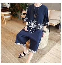 <b>Summer</b> Men Set Vintage <b>Chinese</b> Cloud Printed Wushu Clothing ...