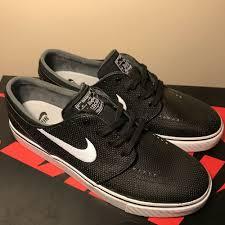 details about nike sb stefan janoski leather black white size 9 5 skateboarding 616490 013