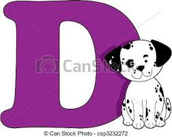 d d 5 character sheet letter d with a dog vector illustration search clipart drawings