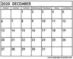 Blank Dec 2020 Calendar December 2020 Calendar Printable