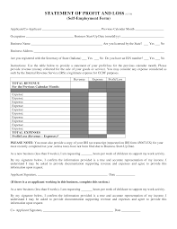Loss And Profit Form Self Employment Profit And Loss Statement Form Templates