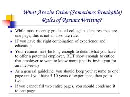 What Are the Other (Sometimes Breakable) Rules of Resume Writing