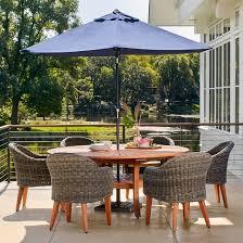 outdoor patio dining set with umbrella. guam 7pc circle wood patio dining set- brown - lifestylegarden outdoor set with umbrella