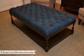 finished diamond tufted diy coffee table ottoman nicest piece of furniture favorite blue white style