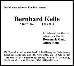 Bernhard Kelle : Traueranzeige, Wolfenbütteler Zeitung