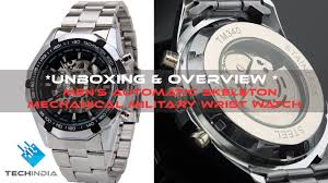 Men's <b>Automatic Skeleton Mechanical</b> Military Wrist watch - YouTube