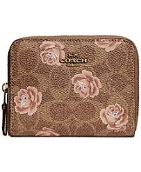 COACH Signature Rose-Print Small Zip-Around Wallet