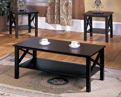 t84 series 3 pc cherry wood x style casual coffee table 2 end tables occasional set