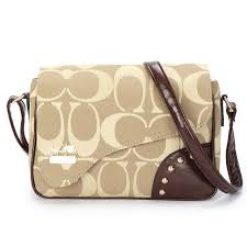 Popular Coach Stud In Signature Medium Khaki Crossbody Bags Ayw Online uMNgg