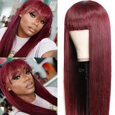 unice burgundy silk straight human hair