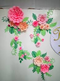 Paper Flower Background 18th Birthday Paper Flower Background Shades Of Peach Garden Theme
