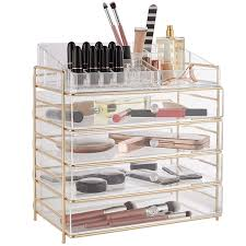 beautify large 5 tier clear acrylic cosmetic makeup storage cube organizer with 4 drawers upper partment with chagne gold frame h14 4 x l13 5 x