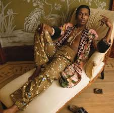 gucci robe. asap rocky chills in gucci s/s 2016 wrap robe and pants