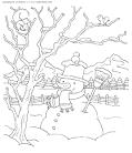 Раскраска зимние деревья