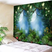 wall hanging forest printed bedroom tapestry green w59 inch l51 inch