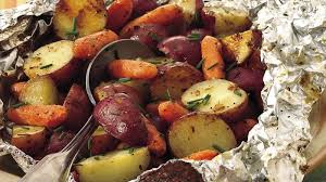grilled parmesan potatoes and carrots