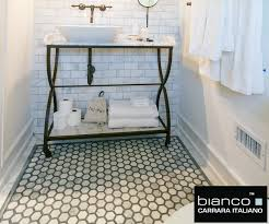 carrara bianco bardiglio strip 2 hexagon honed marble mosaic