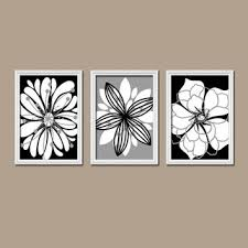 >shop set of three wall art on wanelo wall art canvas artwork black white gray flower petal burst outl