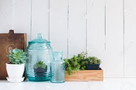 Blue And Green Decor Vintage Home Decor Houseplants Green Succulents Old Wooden