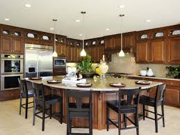 Amusing Design Of The Kitchen Areas With Bronw Wooden Cabinets Added With  White Floor And Kitchen. Custom Kitchen Island
