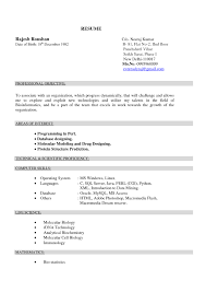 cover letter for biotechnology lecturer resume format for resume format for biotechnology freshers