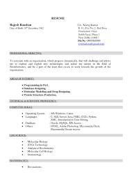 Stylish Resume Format For Biotechnology Freshers Resume Format Web