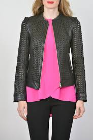 lamarque open weave leather jacket front cropped image
