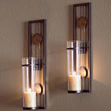 danya b contemporary metal brown wall candle sconces with antique patina medallions set of 2