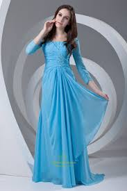 Light Blue Dresses For Mother Of The Bride Vintage Light Blue Long Sleeves Ruffles Chiffon Mother Of