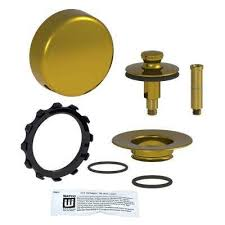 quicktrim push pull bathtub stopper and innovator overflow kit in polished brass