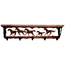 Western Coat Rack Cowboy Coat Racks 100InchWild Horses Coat Rack With ShelfLone Star 69