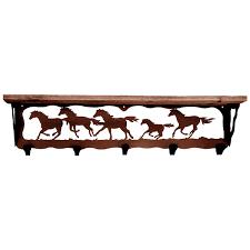 wild horses coat rack with shelf 34 inch