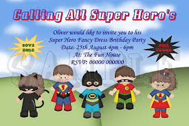 superheroes party invites personalised super hero fancy dress birthday party invitations