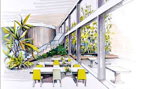 interior designers drawings. Interior Design Sketches Sketch With Yellows Greens And Light Shades Interior Designers Drawings