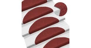 <b>15 pcs</b> Self-adhesive <b>Stair Mats</b> Needle Punch 54x16x4 cm Red ...