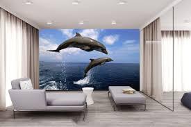 3d blue sky dolphin seascape self