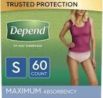 Depend FIT-FLEX Incontinence Underwear for Women, Max Absorbency, Small, Blush, 60 Count (2 x 30)