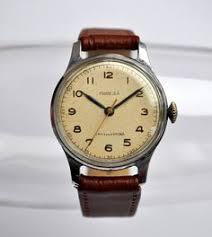 men leather watch big face blue face wrist watch door mywatch vintage soviet mechanical wristwatch pobeda