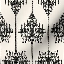 Stoff Meterware Damast Französisch Vintage Schwarz Sahne Kronleuchter Klassisch Leuchter