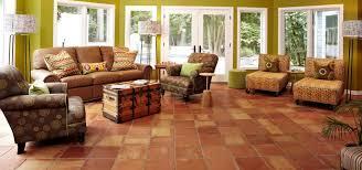 Living room flooring Open Plan Kitchen Saltillotileinlivingroom Westside Tile And Stone Saltillo Tile In Living Room And Bedroom Floors Westside Tile And
