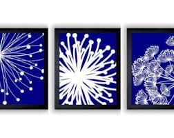 royal navy blue white flower print flowers dandelion set of 3 art prints wall decor bathroom modern minimalist on royal blue and white wall art with royal blue wall art etsy