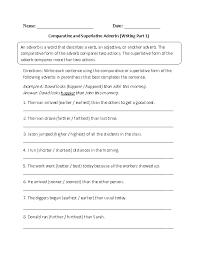 Adverbs Worksheets   Comparative and Superlative Adverbs Worksheets