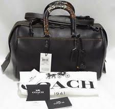 COACH 58689 Patchwork Snake Handle Rogue 36 Satchel Crossbody Bag Black   1,300
