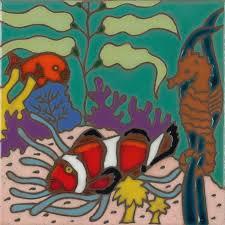 art tile designs. Fine Tile Coral Reef  Hand Painted Art Tile For Designs