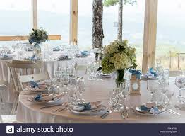 Turquoise And White Wedding Decorations Wedding Table Decoration With White Tablecloth And Silverware