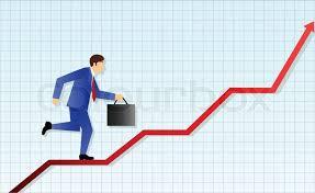 Business Man Runs Up A Profit Chart Stock Vector Colourbox
