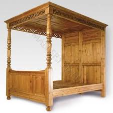 English Solid Wood Panel Canopy Bed : Mallery Hall, Unique Old World Design  at Affordable
