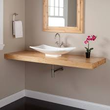 bamboo wall mount vanity top for vessel sink bathroom