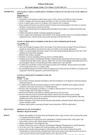 Research Coordinator Clinical Research Resume Samples Velvet Jobs