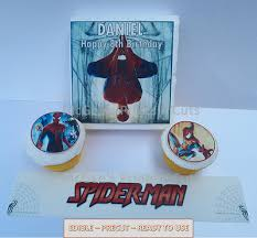 Precut Spiderman Birthday Ages 3 9 Edible Cake Topper Rice Paper 75